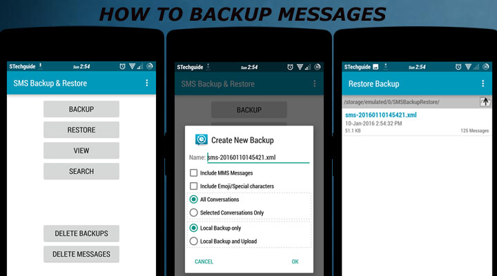How to Backup sms