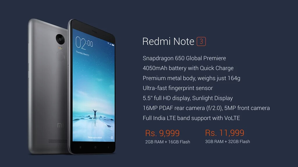 Redmi Note 3 Launched