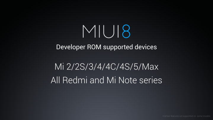 MIUI 8 Supported Devices
