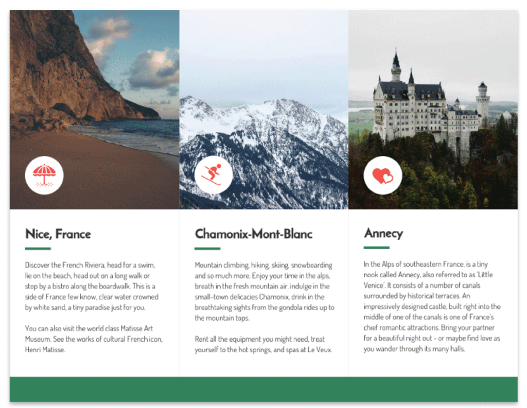 Green photocentric trifold travel brochure