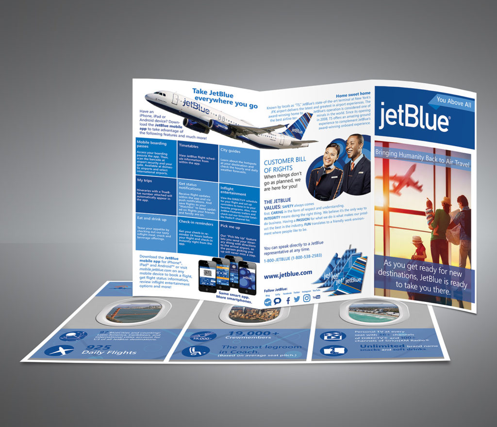 Private jets airline tri fold brochure